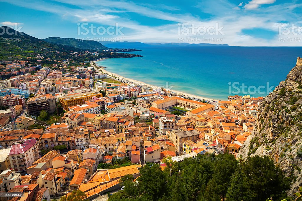 aerial view of town Cefalu stock photo