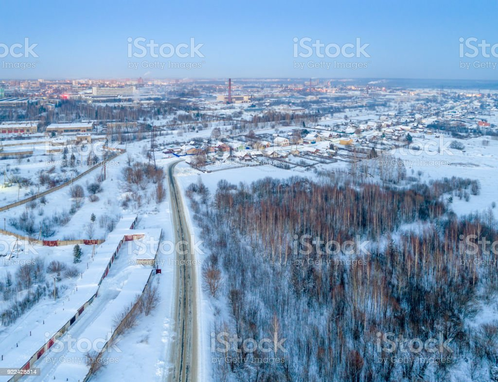 Aerial View of Town with Neighborhoods stock photo