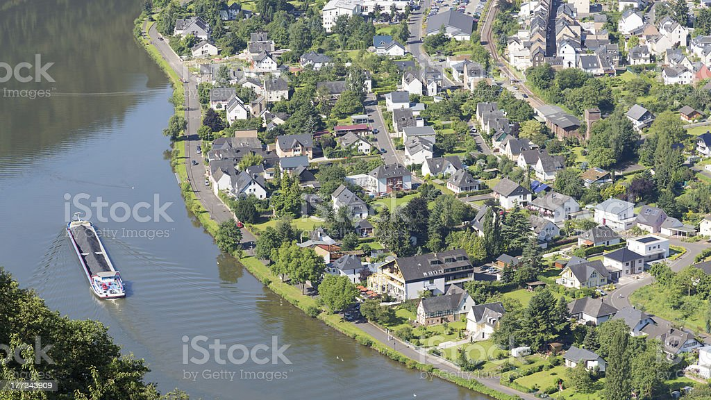 Aerial view of Traben-Trarbach at the river Moselle in Germany royalty-free stock photo