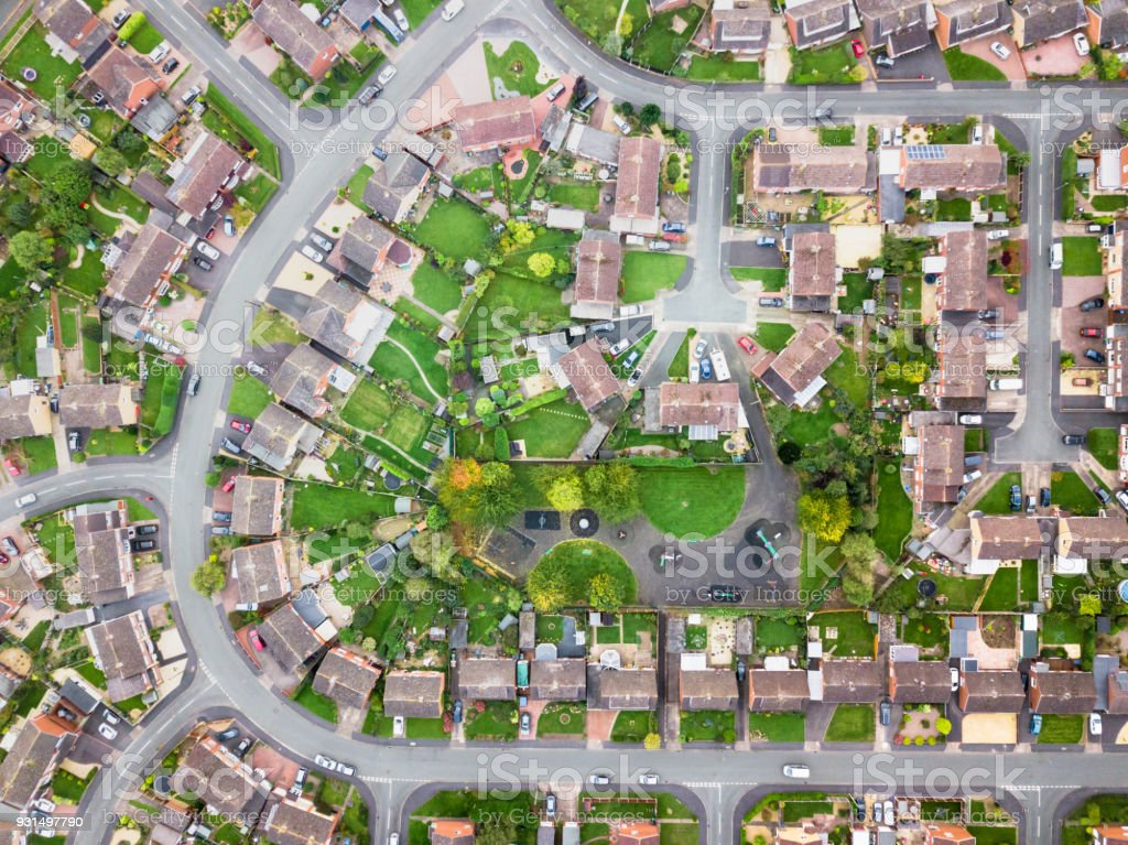 Aerial view of traditional housing estate in England. stock photo