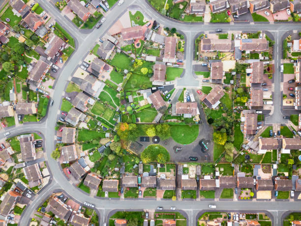 Aerial view of traditional housing estate in England. - foto stock
