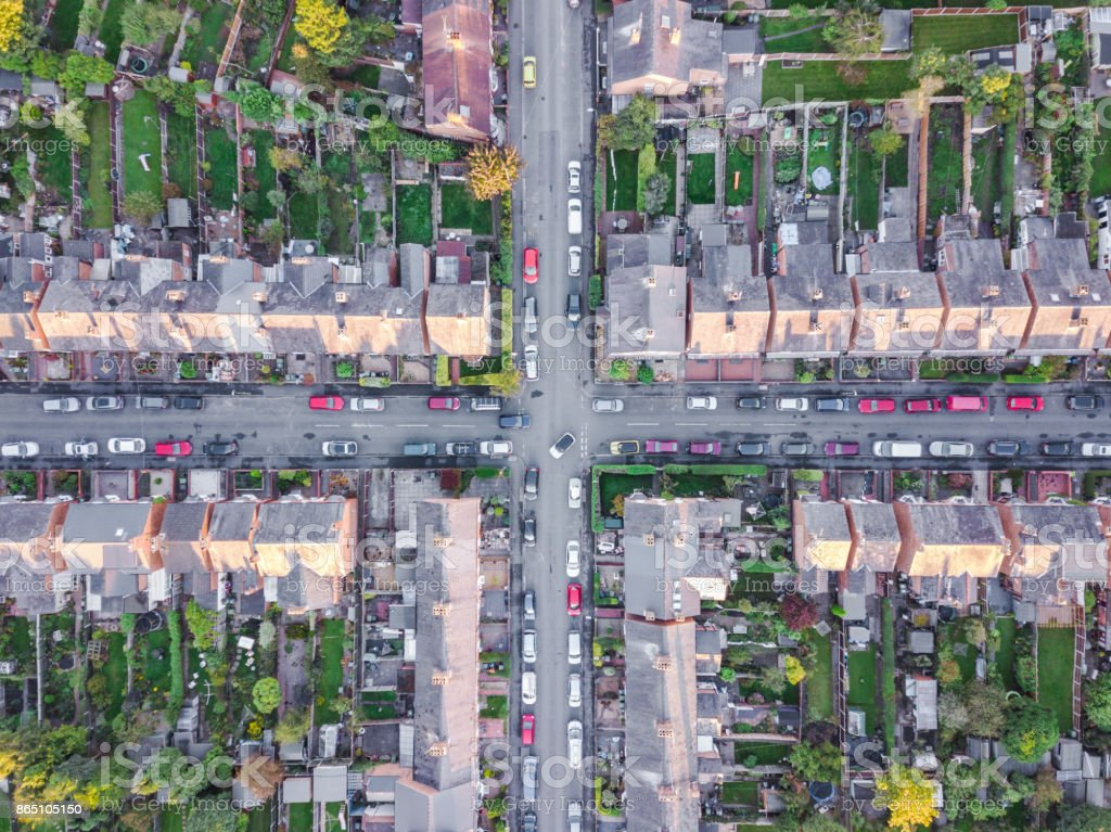 Aerial view of traditional housing suburbs cross roads in England stock photo