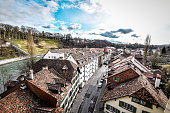 Aerial View Of Traditional Swiss Architecture In Bern, Switzerland