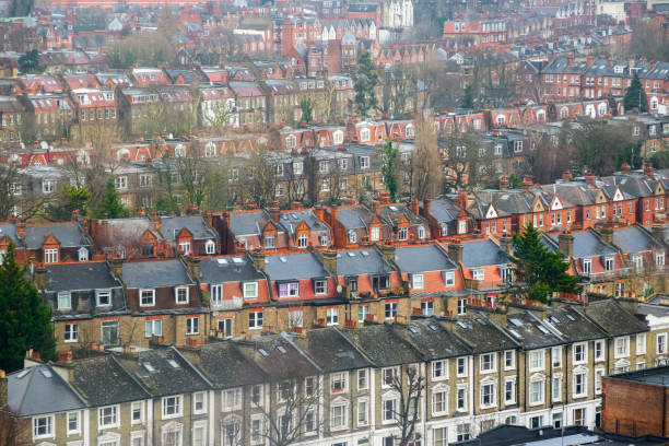 Aerial view of traditional terraced housing in London stock photo