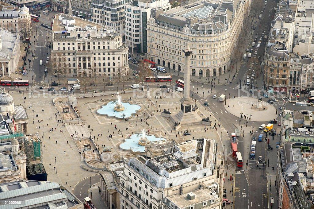 Aerial View of Trafalgar Square stock photo