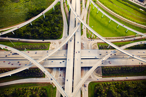 Aerial view of traffic and overpasses