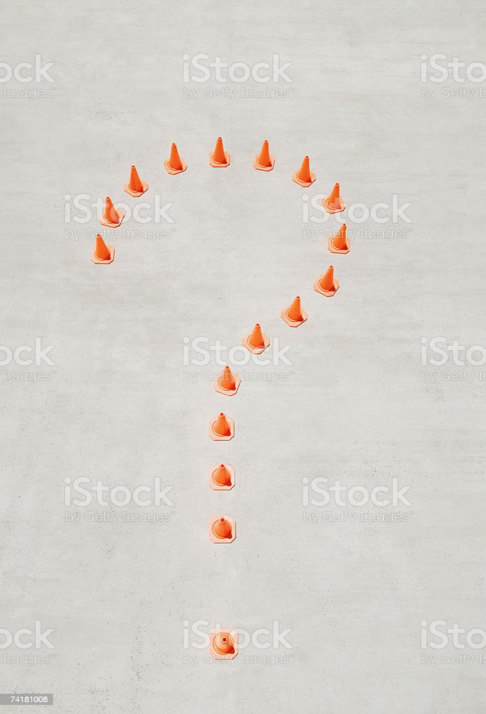 Aerial view of traffic cones forming question mark royalty-free stock photo