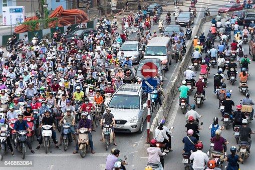 istock Hanoi, Vietnam - Sep 14, 2016: Aerial view of traffic in rush hour in Truong Chinh street 646863064