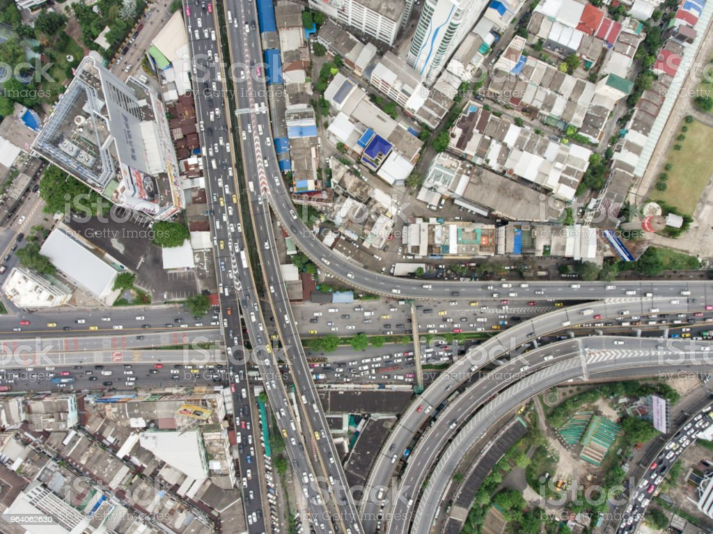 Aerial view of traffic jam in urban city. - Royalty-free Above Stock Photo