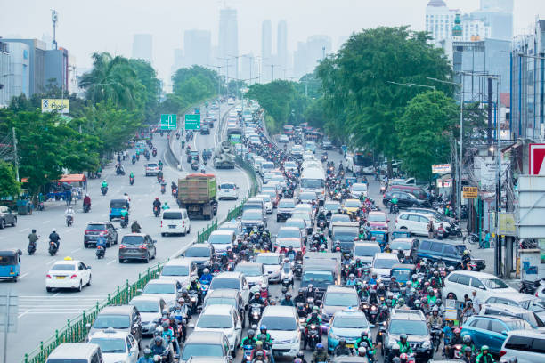Aerial view of traffic jam with crowded vehicles stock photo