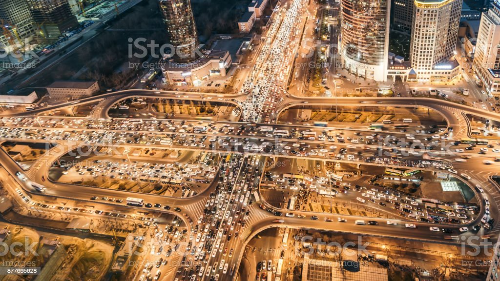 Aerial View of Traffic Jam with Rush Hour Traffic stock photo