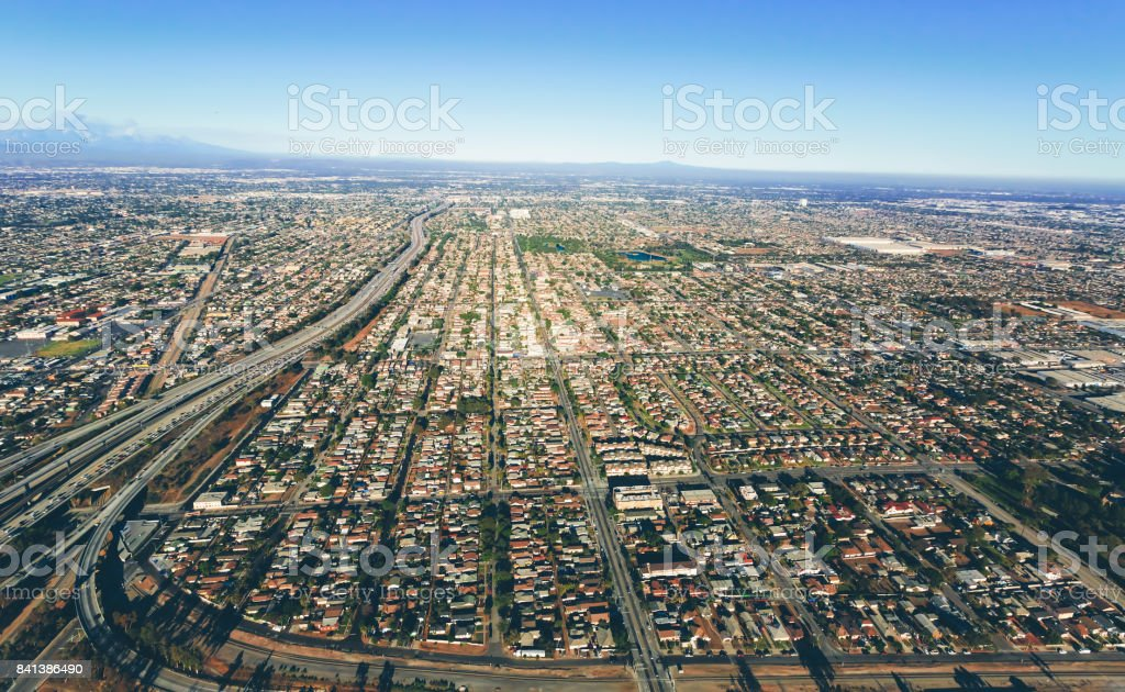 Aerial view of traffic on a highway in LA stock photo