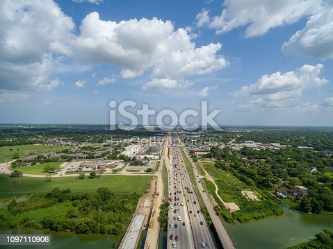 94502198istockphoto Aerial view of traffic on a major Texas freeway. 1097110906