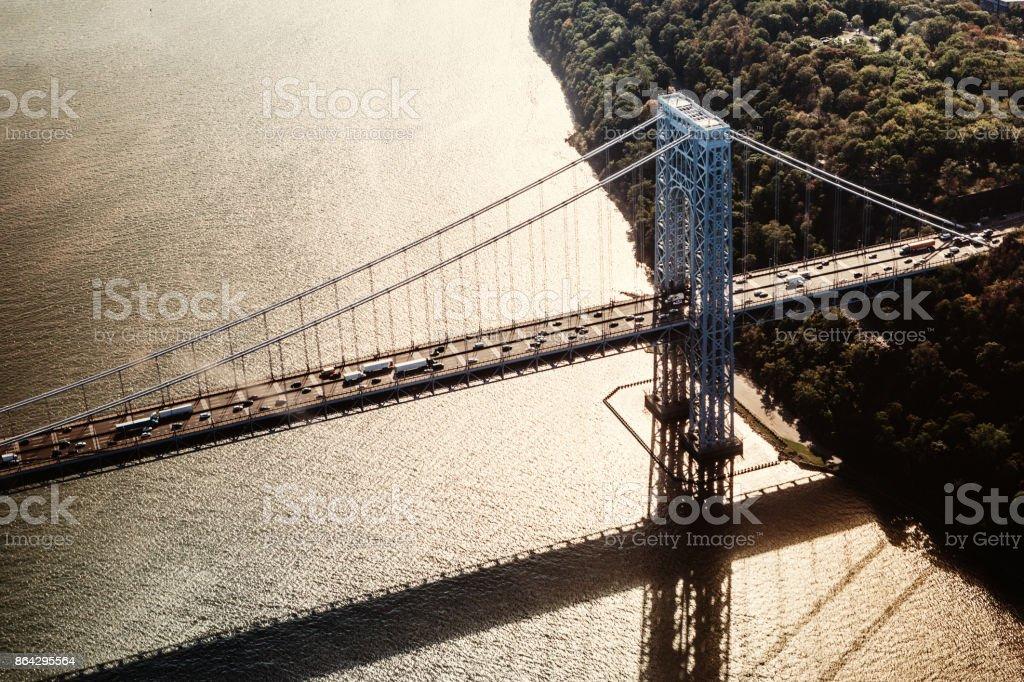 Aerial View of Traffic on George Washington Bridge in New York royalty-free stock photo