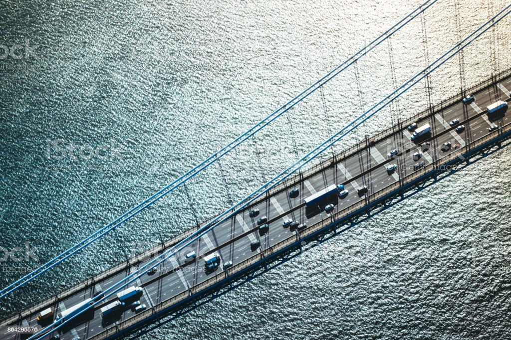 Aerial View of Traffic on George Washington Bridge in New York royalty-free stock photo