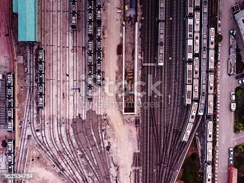Aerial view of train carriages and tracks