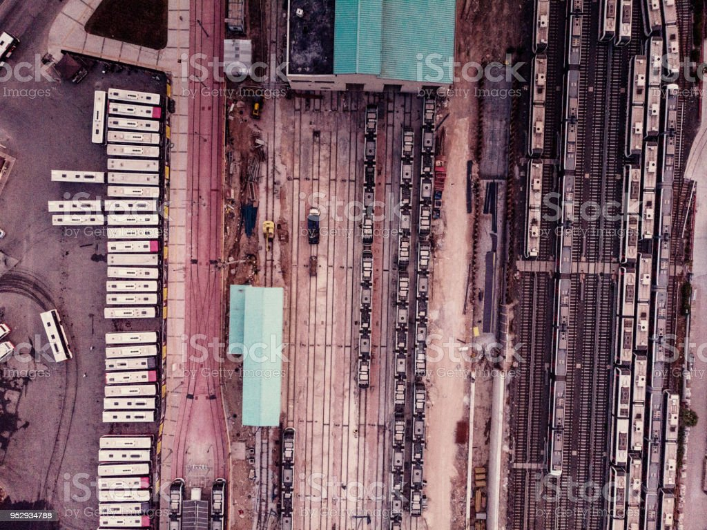 Aerial view of train carriages and tracks stock photo