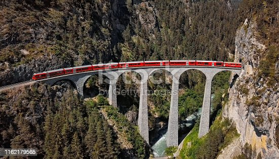 Aerial panorama of train on Landwasser Viaduct, Switzerland
