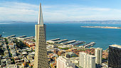 San Francisco, USA - August 2019: Aerial view of Transamerica pyramid skyscraper and city of San Francisco on a summer day