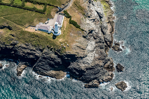 Aerial View Of Trevose Lighthouse Cornwall Stock Photo - Download Image Now