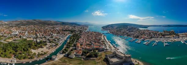 Aerial view of Trogir in summer, Croatia stock photo