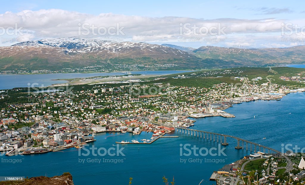 Aerial view of Tromso island and river bridge stock photo
