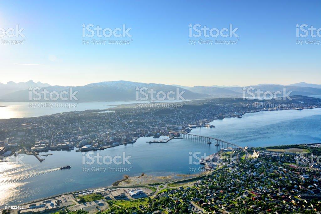 Aerial view of Tromso, Norway stock photo