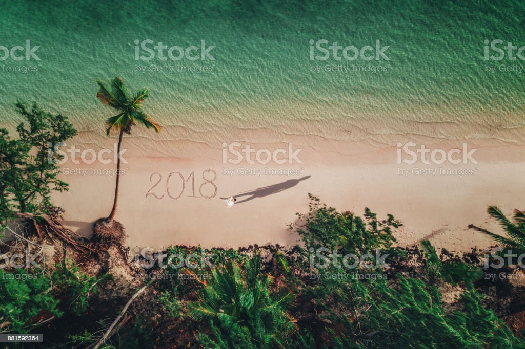 Aerial view of tropical beach, Dominican Republic, Punta Cana stock photo