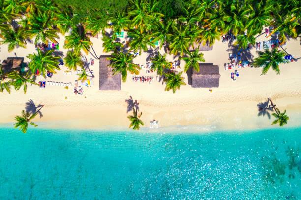 Luftaufnahme des tropischen Strandes. Saona Island, Dominikanische Republik – Foto
