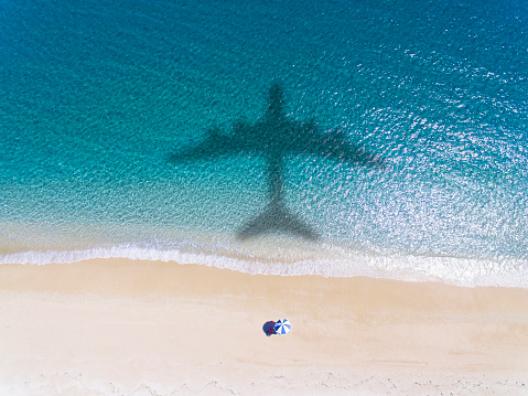 istock Aerial view of Tropical beach with summer vacation concept 973670628