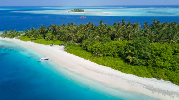 Aerial view of tropical iceland with sandy beach, Maldives stock photo