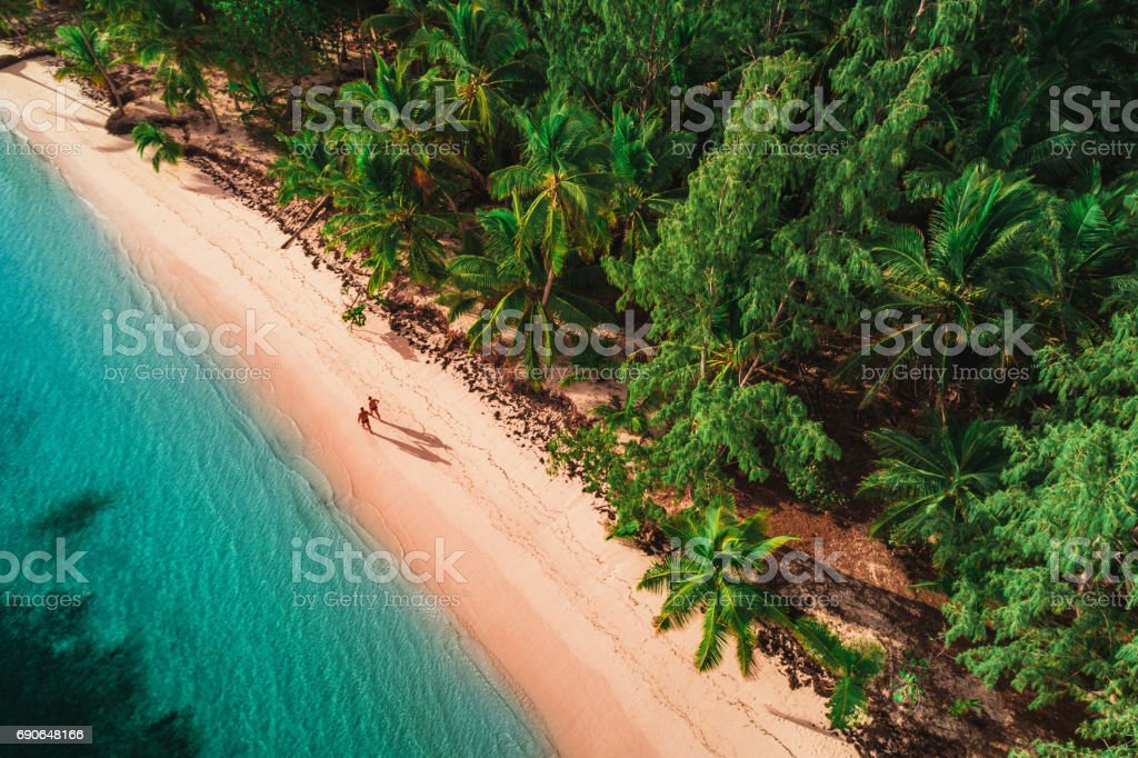 Aerial view of tropical island beach, Dominican Republic stock photo
