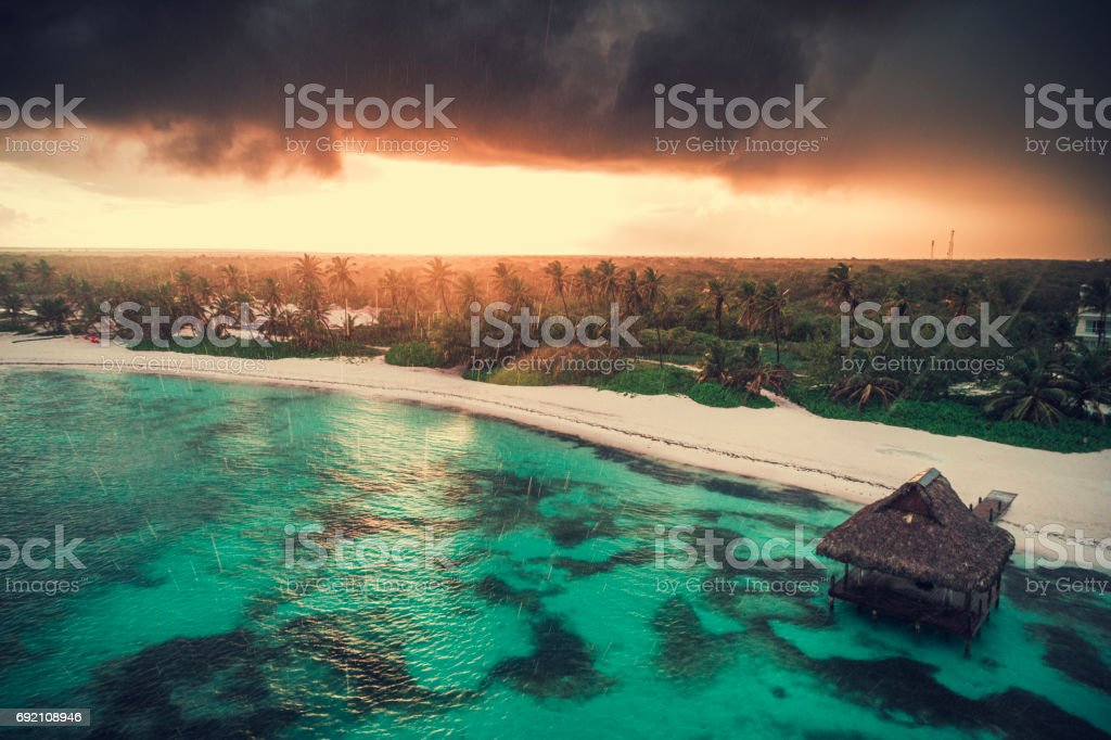 Aerial view of tropical island beach, Dominican Republic. Top view stock photo