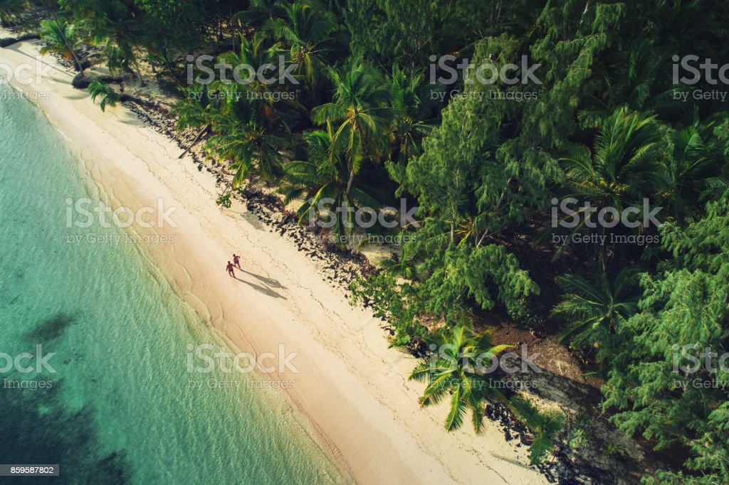 Aerial view of tropical island beach, Punta Cana. Dominican Republic stock photo