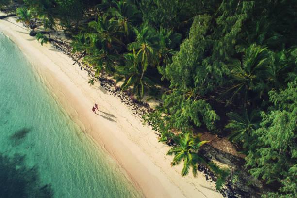 Aerial view of tropical island beach, Punta Cana. Dominican Republic stock photo