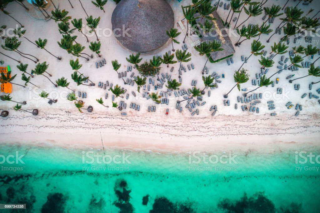 Aerial view of tropical island beach. Punta Cana. stock photo