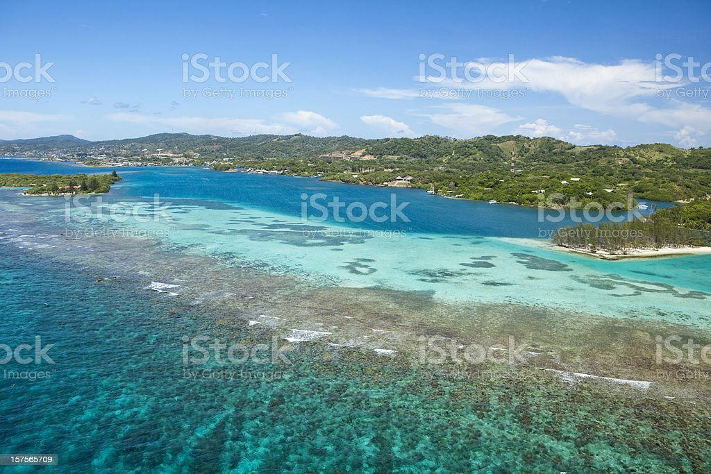 Aerial View of tropical island stock photo