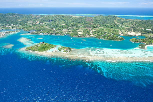 Aerial view of tropical island Aerial view of tropical Caribbean island. Roatan, Honduras roatan stock pictures, royalty-free photos & images