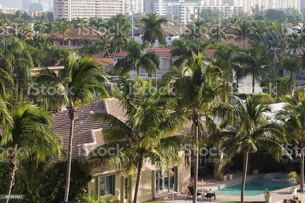 Aerial View of Tropical Miami Neighorhood royalty-free stock photo