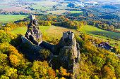 istock Aerial view of Trosky Castle, Czech Republic 1195070428