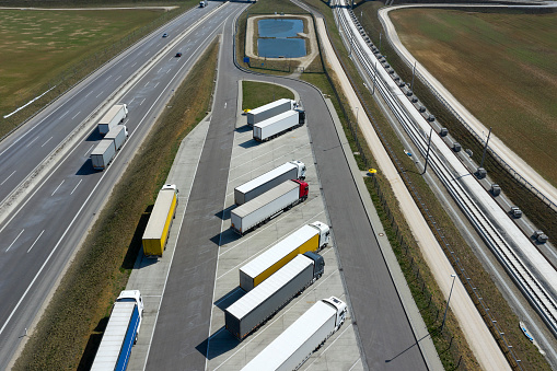 Aerial View of Trucks at Highway Truck Stop