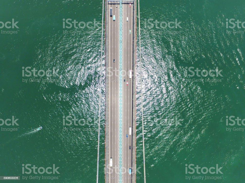 Aerial view of Tsing Ma Bridge stock photo