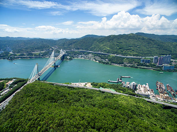 Aerial view of Tsing Ma Bridge Aerial view of Tsing Ma Bridge, Tsing Yi, Hong Kong. new territories stock pictures, royalty-free photos & images