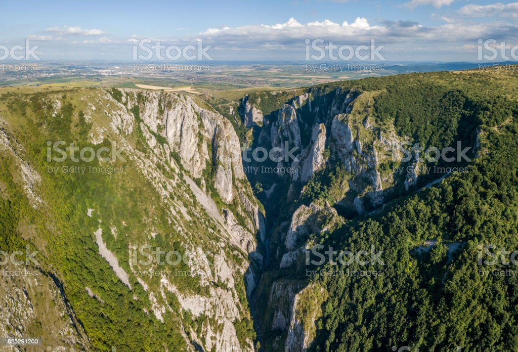Aerial view of Turda Gorge stock photo