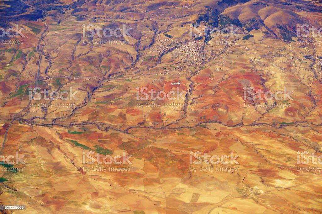 Aerial view of Turkey mountains stock photo