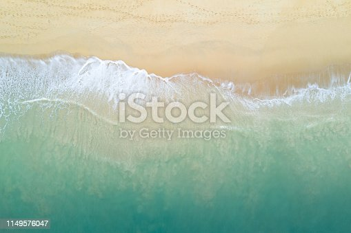 istock Aerial view of turquoise ocean wave reaching the coastline. Beautiful tropical beach from top view. Andaman sea in Thailand. Summer holiday vacation concept 1149576047
