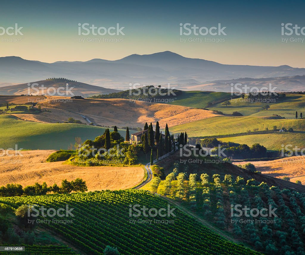 Aerial view of Tuscan landscape sunrise in Val dOrcia Italy stock photo