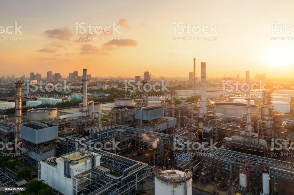 Aerial view of twilight of oil refinery ,Shot from drone of Oil refinery plant ,refinery Petrochemical plant at dusk , Bangkok, Thailand royalty-free stock photo