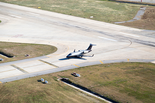 aerial view of two especial airplanes on ground