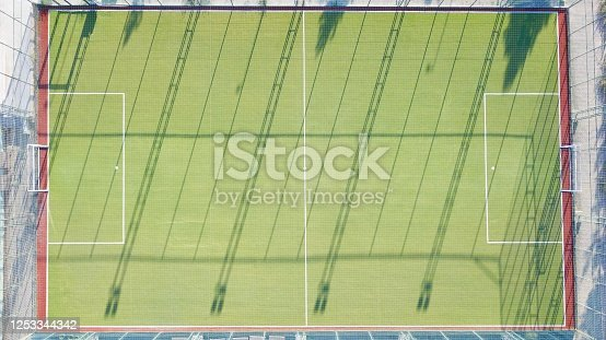 931661614 istock photo Aerial view of two football field. The field is empty and there are no people. 1253344342